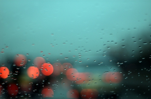 abstract photography, ally mc beal opening, blue, blurred, bokeh, camera, car, digital, drops, light, lights, minneapolis, photo, rain, water, wet, window