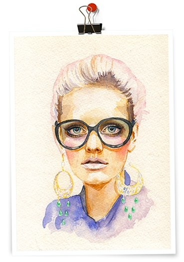 art, artwork, fashion, girl, glasses, illustration, leesaleva, lydia hearst, pastels, watercolor