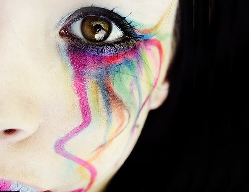 bright, color, colorful makeup, colorfull, colors, colour, colourful, crying, eye, eyes, face, girl, happy, make up, makeup, mascara, multicolor, rainbow, sad, spectrum, woman