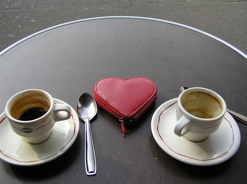 cafe, coeur, coffee, cup, heart, love, paris, photography, spoon, table