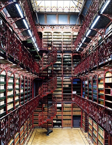 amazing, bannister, bg:room, books, closet, dreams, floor to ceiling, interior, ladder, library, ornate, paradise, perfect place, railing, red, shelves, skylight, spiral staircase, stacks, staircase, stairs, vermillion, wood floor, wrough iron