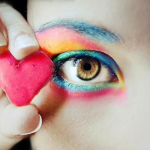 alelatriller, and meee, bright, colorful, colorful eye, colorful makeup