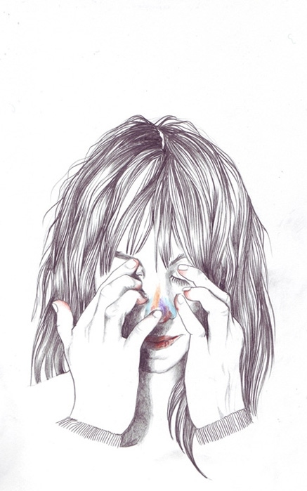 art, artwork, be odd, charlotte gainsbourg, draw, drawing, drawing illustration, endless, esra roise, girl, hands, hide and seek, illustration, portrait, sketch, typography