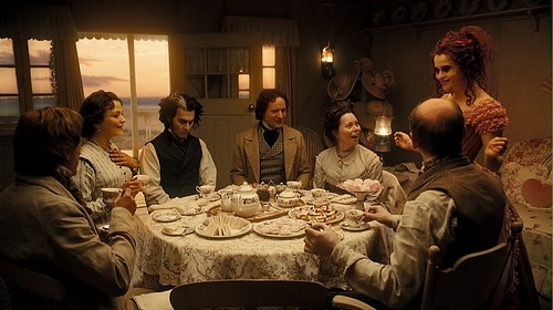 helena bonham carter, johnny depp, movie, mrs lovett, sweeney todd, tea, tim burton