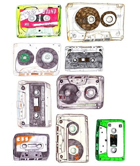art, cassette tapes, drawing, hannah barton, illustration, mixtape, music, tapes