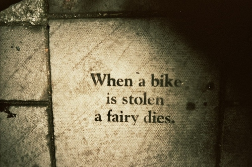 bike, fairy, message, quote, street art, text