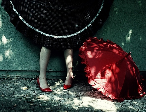 black dress, girl, parasol, red, red shoes, shoes