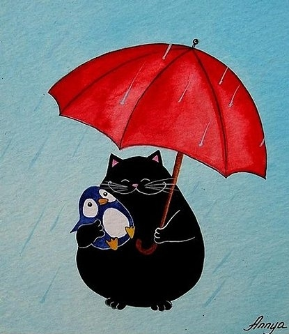 cat, cute, draw, drawing, friends, funny, illustration, penguin, rain, umbrella