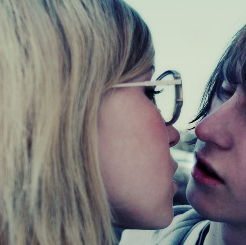 alex turner?, almost kissing, blonde, blue, boy, couple, cute, cute couple, girl, girls kiss, glasses, hair, hip, kiss, kissing, lips, love, pretty