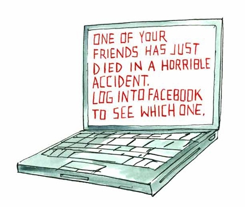 facebook, funny, illustration, ironic, laptop, macabre