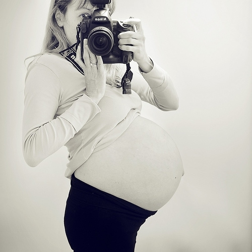 baby, black and white, camera, cameras, nikon, pregnant, self portrait, twins, woman
