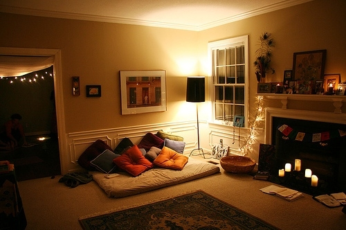 apartment, candles, couch, decoration, futon, home
