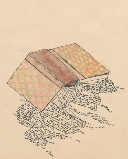 art, book, colored pencil, drawing, evangeline, illustration, leak, pencil, spill, text, words
