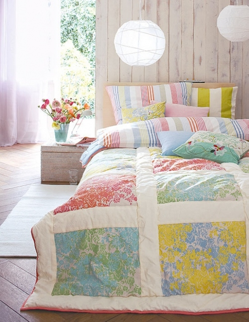 bed, bedroom, beds, blue, colorful, cosy