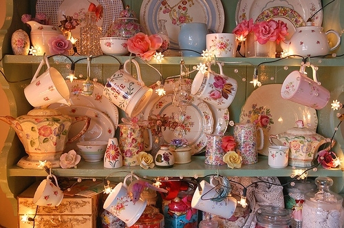cup, deco, flower, lights, photo, teacups, theme:chic, theme:whimsy, whimsical