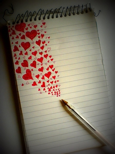 bic, hand phone, heart, hearts, love, notepad