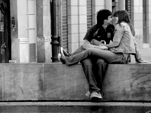 b/w, barbie, black and white, couple, happy, kiss