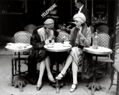 1920s, black and white, cafe, fashion, flapper, flappers