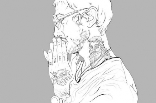 art, black and white, boy, glasses, illustration, line drawing, men thinking, tattoo, tattoos