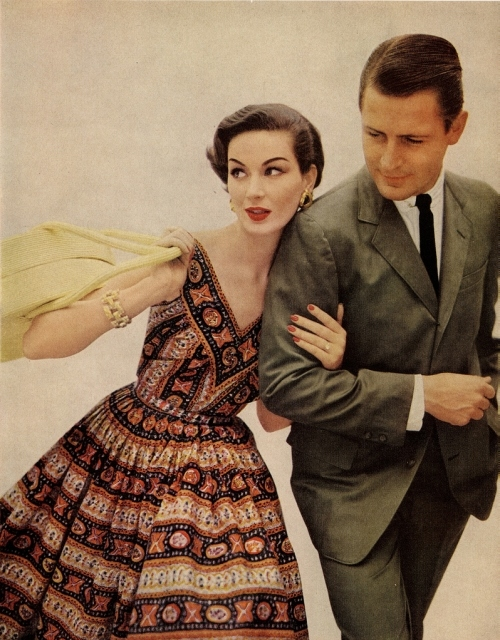 1950s, couple, dress, fashion, husband, vintage