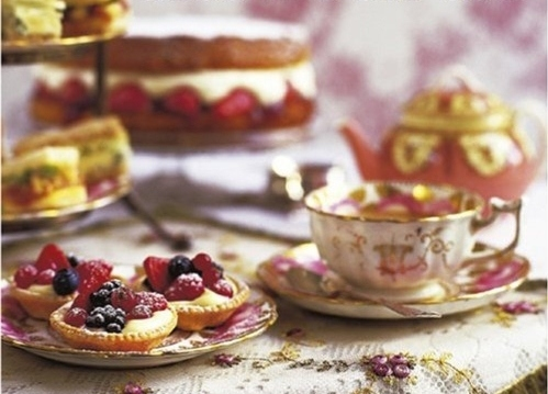 afternoon tea, berries, cake, candy, china, cream cakes