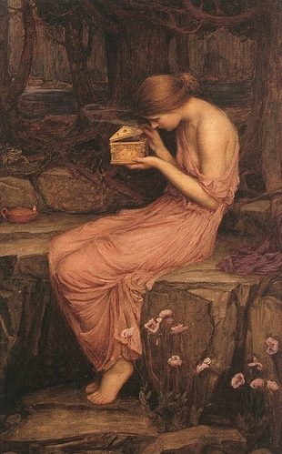 19th century, art, classical, greek, mythology, painting, pink, pre rafaelit, psyche, sitting, waterhouse