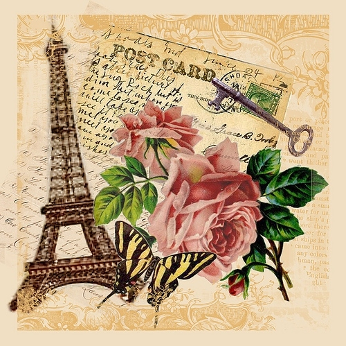 eiffel tower, paris, postcard, rose, things, vintage