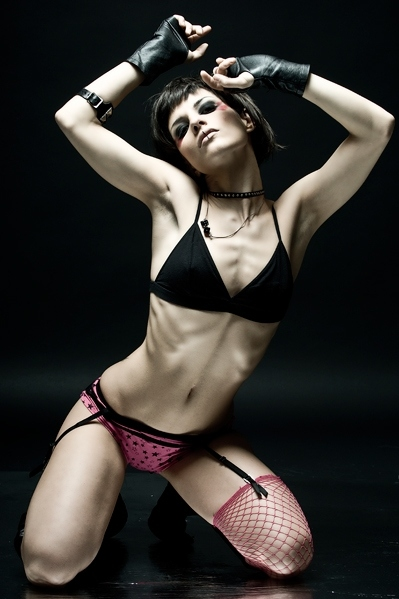 alt girl, anorexia, black, bra, colors, dark, eat a sandwich, eyeshadow, fashion, fishnets, garter belt, girl, gloves, leather, lingerie, makeup, panties, photography, pink, ribs, sexy, sheer, skinny, stars, thin, underwear