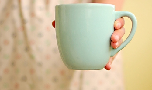 blue, breakfast, cup, hand, morning, pale blue, pastel, retro, tea