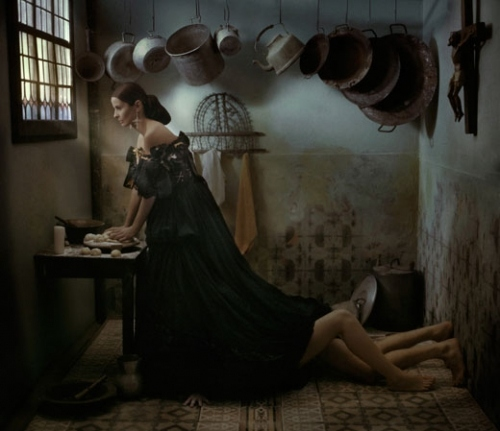 editorial, eugenio recuenco, fashion, flemish, kitchen, medieval, pans, photography, pots, recuenco, sensual, sex, sexy, surrealism