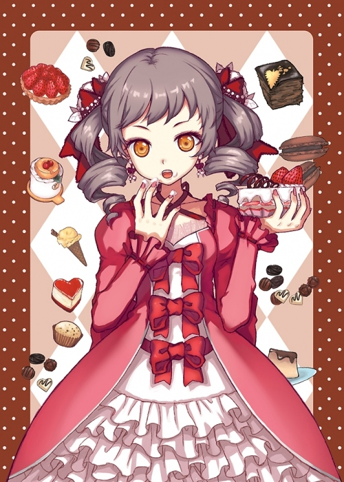 anime, cartoon, dessert, dress, dresses, food, frills, girl, gothic lolita, lolita