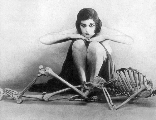 black and white, early 20th century, macabre, skeleton, theda bara, vintage
