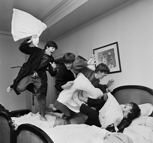 beatles, bed, black and white, boys, da jubs, fab four