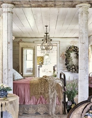 bed, bedroom, chandelier, columns, decor, interior