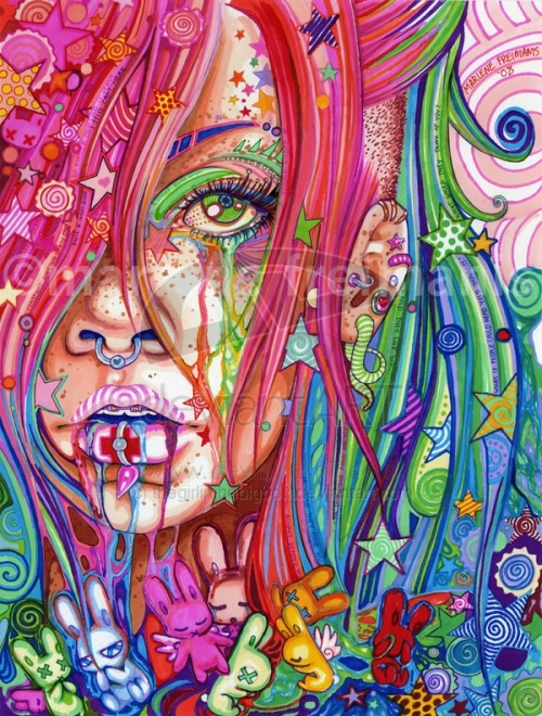 blue, colorful, colors, colours, drugs?, girl, illustration, multicoil, multicolor, pink, psychedelic