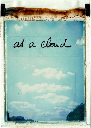 art, blue, cloud, clouds, photography, polaroid, polaroidtransfer, sky, transfer, tumble, words