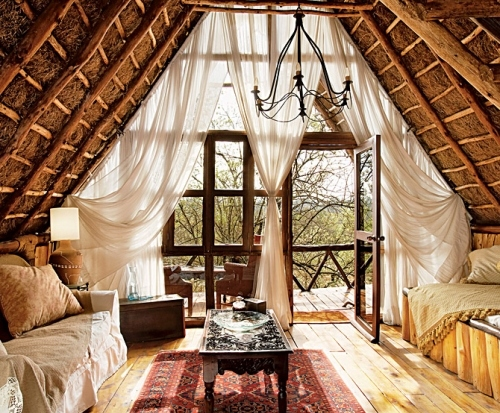 africa, brown, carpet, chandelier, colonial chic, curtains, cushions, decor, drapery, floorboards, inredning, interior, lodge, rafters, sheets, sofa, table, tent, terrace, travel, wood