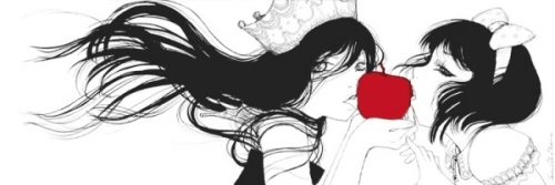 anime, apple, bow, camilla dericco, crown, girl, illustration, manga, snow white