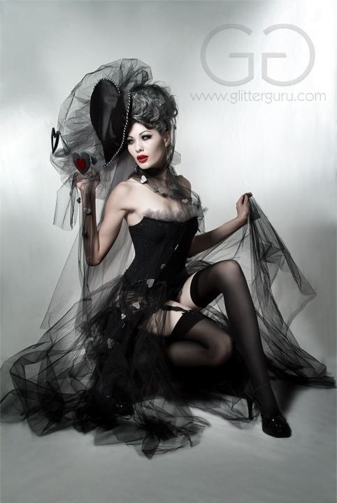 alternative, bustier, corset, costume, dark, fashion, glamour, glitter guru, goth, queen of hearts, studio