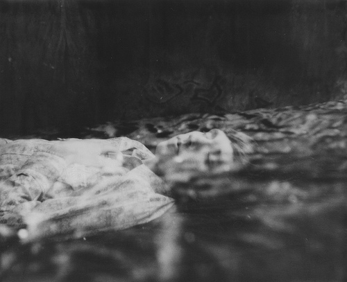 black and white, dead, death, floating, girl, jon edwards