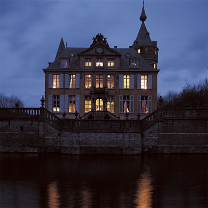 blue, castle, chateau, dark, dream home, evening