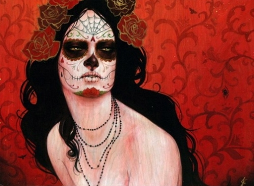 calavera, day of the dead, dia de los muertos, mexican skull, painting, roses, skull, sylvia ji, woman