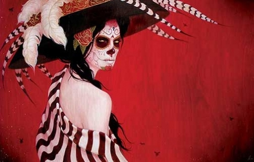 calavera, day of the dead, dia de los muertos, hat, mexican skull, painting