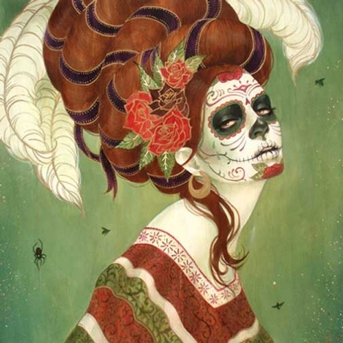 calavera, day of the deads, dia de los muertos, feather, mexican skull, painting