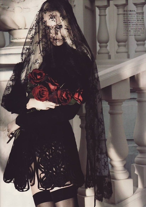 anna maria jagodzinska, black, black veil, decadent, fashion, fashion photography