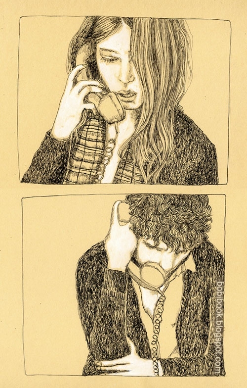 boy, couple, draw, girl, love, phone, telephone