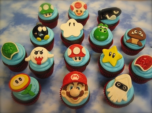 bright, candy, cupcake, cupcakes, dessert, food, nintendo, super mario, sweet, treat