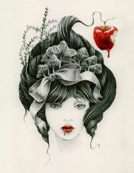 art, bg:white, black, courtney brims, drawn, fg:black, fg:red, illustrazione, pencil, red lips, snow white, white
