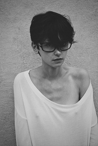 black and white, cecilia mendez, chadwick tyler, collar bones, cute girl, fashion, girl, glasses, thin