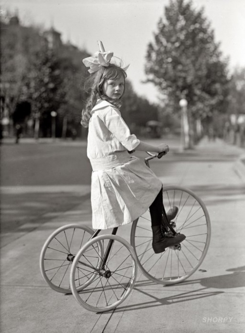 1910s, 1915, bicycle, black and white, bow, dress, girl, large bow, late edwardian, lovely, stile lolita, tricycle, victorian, vintage, washington, wheels
